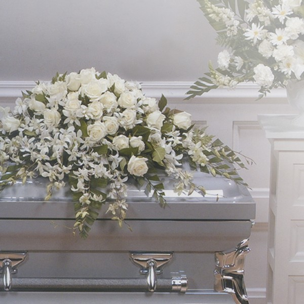 White Orchid and Rose Casket Spray
