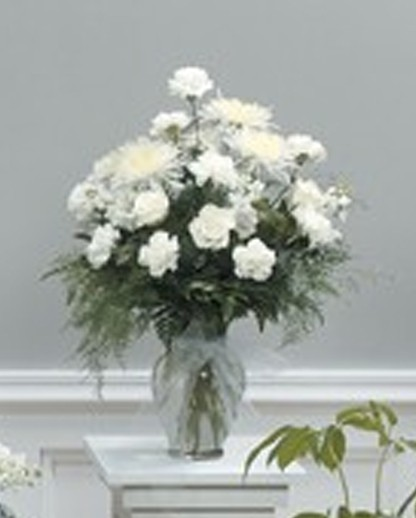 White Rose and Fuji Mum Vase