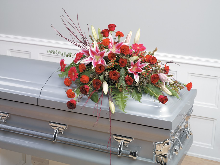 Proudly Remembered Casket Spray
