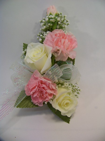 Pink carnation wrist corsage rose and carnation corsage in
