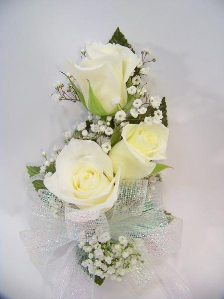 Three Rose Corsage in White