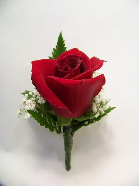 Single Large Rose Boutonniere in Red