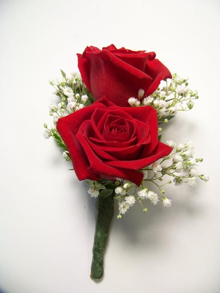 Double Mini Rose Boutonniere in Red