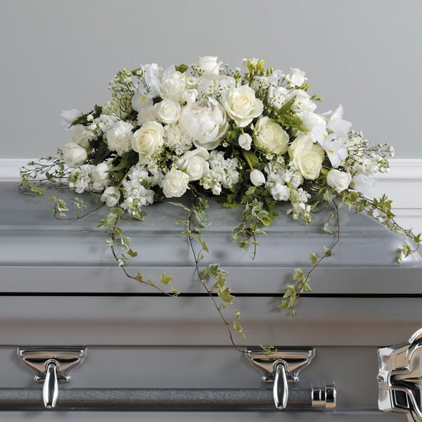 White Blooming Rose Casket Cover