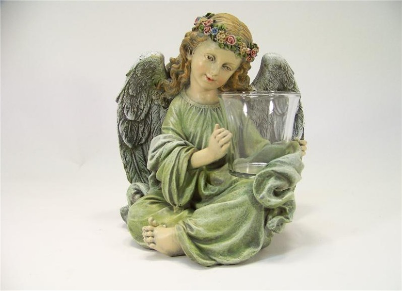 Sitting Angel with Votive Candle